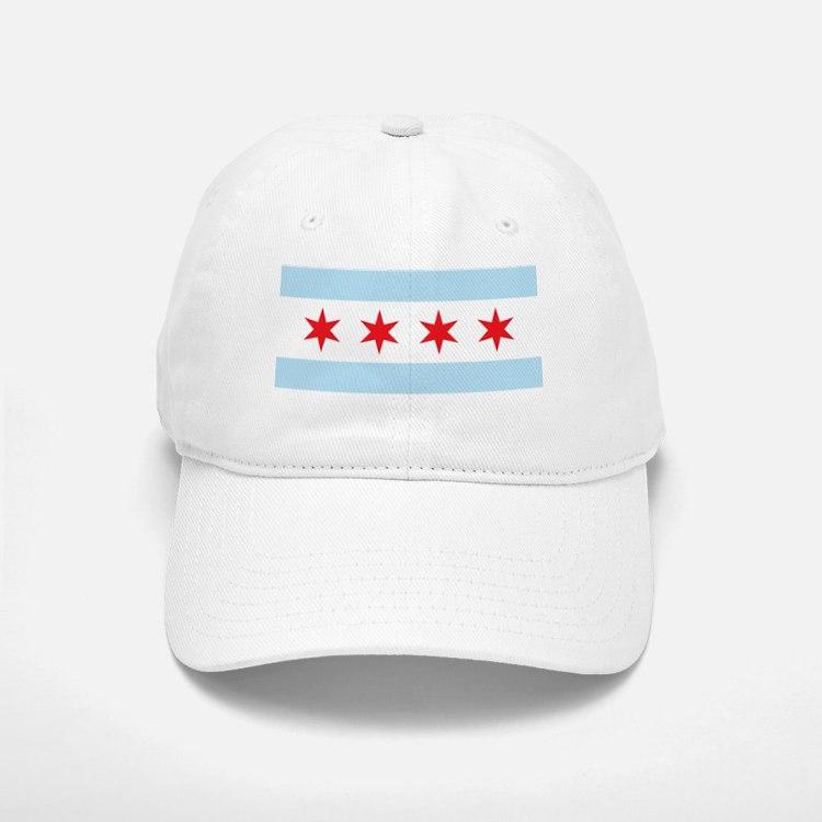 Chicago Flag White Background Baseball Baseball Cap