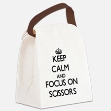 Keep Calm and focus on Scissors Canvas Lunch Bag