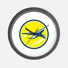 Commercial Jet Plane Airline Circle Retro Wall Clo