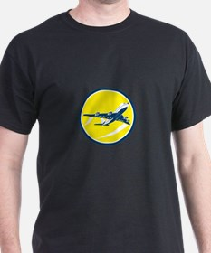 Commercial Jet Plane Airline Circle Retro T-Shirt