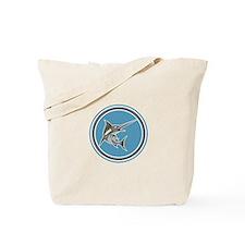 Blue Marlin Fish Jumping Circle Retro Tote Bag