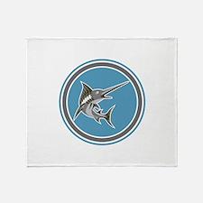 Blue Marlin Fish Jumping Circle Retro Throw Blanke