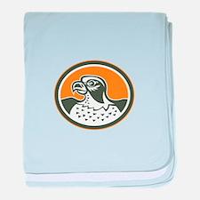 Falcon Head Side Oval Retro baby blanket