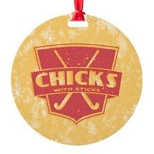 Field Hockey Chicks With Sticks Ornament