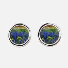 Blue and Yellow Wildflowers Round Cufflinks