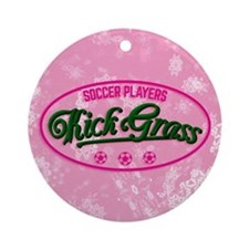 Soccer Players Kickgrass Ornament (round)