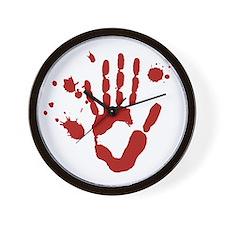 Bloody Hand Print Halloween Wall Clock