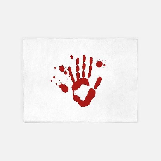 Bloody Hand Print Halloween 5'x7'Area Rug
