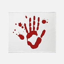 Bloody Hand Print Halloween Throw Blanket