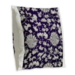 Abstract Whimsical Flowers Burlap Throw Pillow