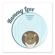 "Hammy Love Square Car Magnet 3"" x 3"""
