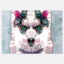 abstract sibirian husky Invitations