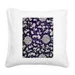 Abstract Whimsical Flowers Square Canvas Pillow