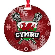 Wales Cymru Lacrosse Logo Round Ornament