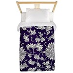 Abstract Whimsical Flowers Twin Duvet Cover