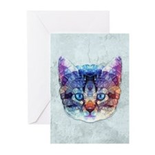 abstract kitten Greeting Cards