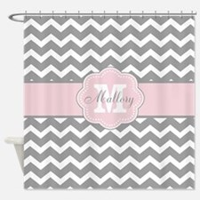 Gray Pink Chevron Personalized Shower Curtain