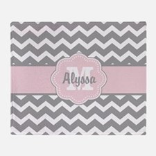 Gray Pink Chevron Personalized Throw Blanket