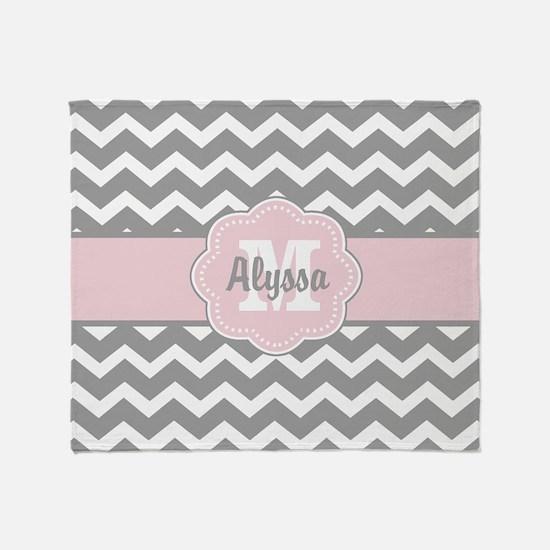 Gray Pink Chevron Personalized Throw Blanket