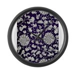 Abstract Whimsical Flowers Large Wall Clock