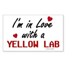 In Love With A Yellow Lab Rectangle Decal