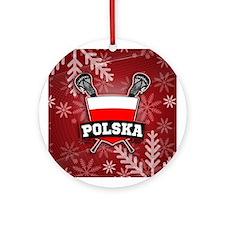 Poland Polska Lacrosse Xmas Ornament (Round)