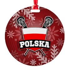 Poland Polska Lacrosse Xmas Ornament