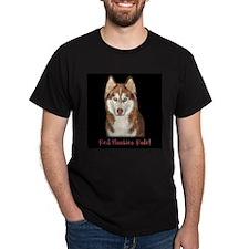Red Huskies Rule! black t shirt