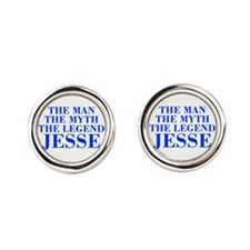 The Man Myth Legend JESSE-bod blue Round Cufflinks