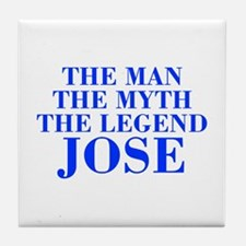 The Man Myth Legend JOSE-bod blue Tile Coaster