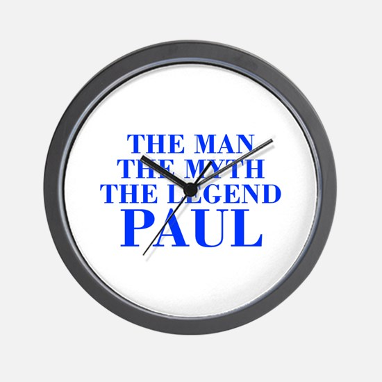 The Man Myth Legend PAUL-bod blue Wall Clock