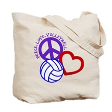 PEACE, LOVE, VOLLEYBALL Tote Bag