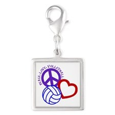 PEACE, LOVE, VOLLEYBALL Silver Square Charm