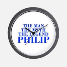 The Man Myth Legend PHILIP-bod blue Wall Clock