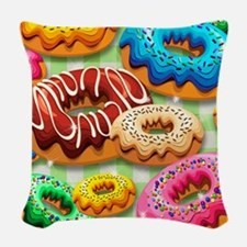 Donuts Party Time Woven Throw Pillow