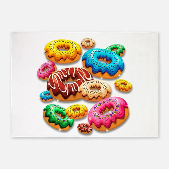 Donuts Party Time 5'x7'Area Rug