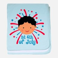 Baby's 1st fireworks 4th of July baby blanket