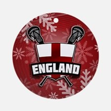 English Flag Lacrosse Xmas Ornament (Round)