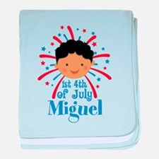 1st Fourth Of July personalized baby blanket