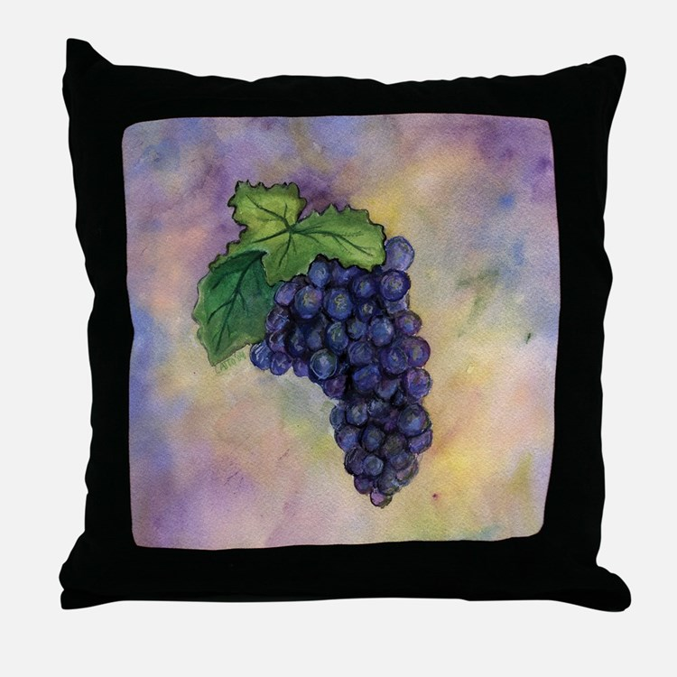 Red Wine Grapes Throw Pillow