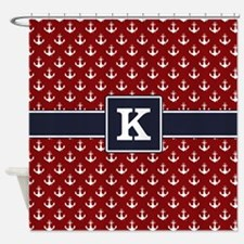 Navy Monogram Red Anchor Pattern Shower Curtain