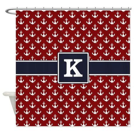 Navy Monogram Red Anchor Pattern Shower Curtain