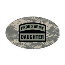 Proud Army Daughter Camo Oval Car Magnet