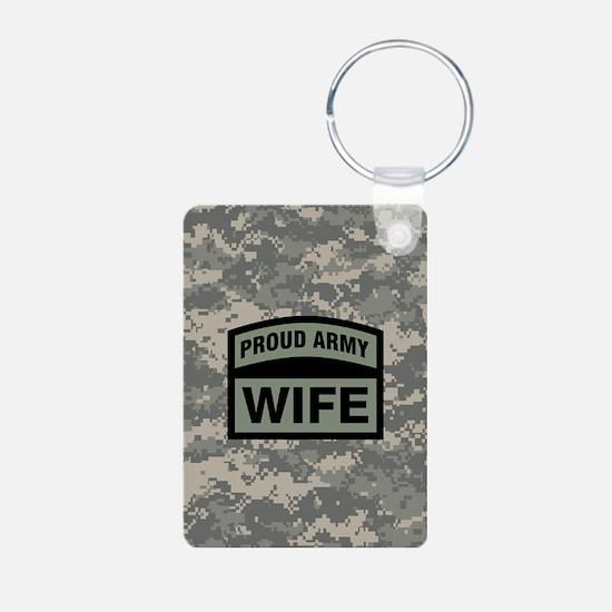 Proud Army Wife Camo Keychains