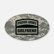 Proud Army Girlfriend Camo Oval Car Magnet