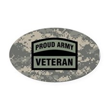 Proud Army Veteran Camo Oval Car Magnet