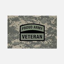 Proud Army Veteran Camo Rectangle Magnet