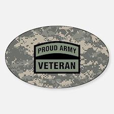 Proud Army Veteran Camo Sticker (Oval)