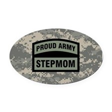 Proud Army Stepmom Camo Oval Car Magnet
