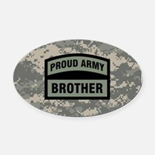 Proud Army Brother Camo Oval Car Magnet